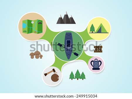 camping and kayak graphic in
