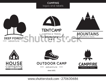 Camping and outdoor activity logos
