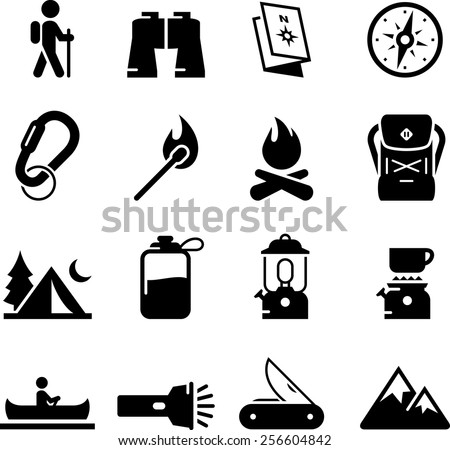 Camping and outdoor recreation icon set. Vector icons for digital and print projects.