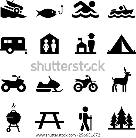 Camping and outdoor recreation icons - Shutterstock ID 256651672