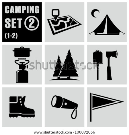 Camping and outdoors icons set 2.