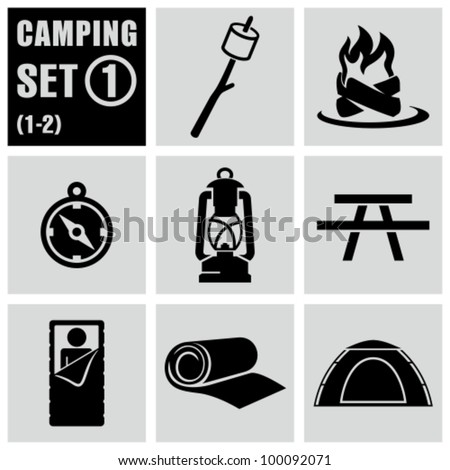 Camping and outdoors icons set 1.