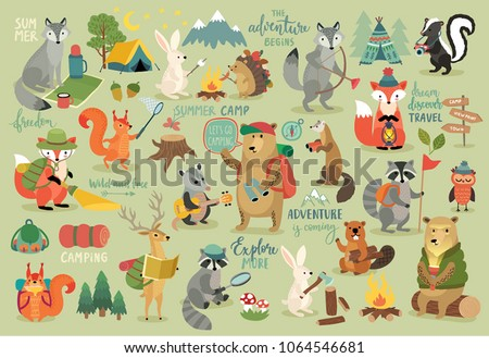 Camping Animals hand drawn style, motivation Calligraphy and other elements. Vector illustration.