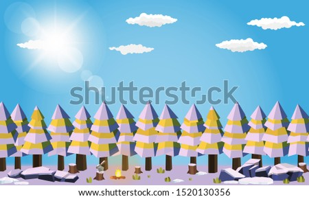 camping area in forest summer