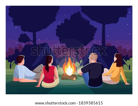 Camping at night semi flat vector illustration. People sit near campfire in evening. Bonfire in forest. Campground for group. Friends on recreation in woods 2D cartoon characters for commercial use