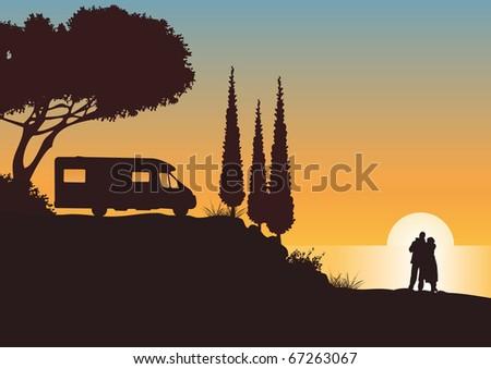 camping at the coast illustration