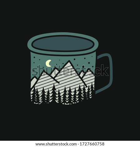 Camping badge illustration design. Outdoor logo with camp mug, for t shirt. Included retro mountains, lake and camper. Unusual hipster style patch. Stock vector sticker