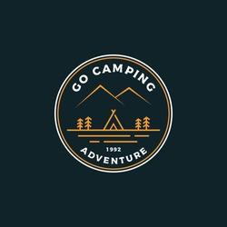 Camping badge logo design vector illustration