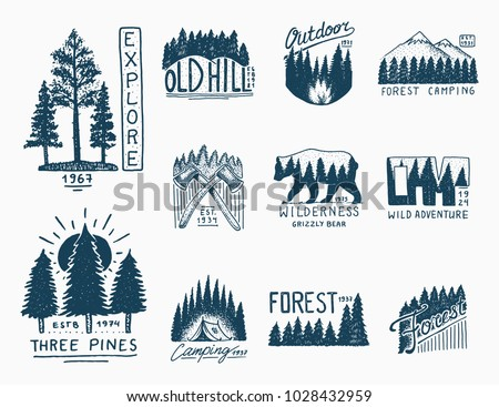 camping badges  mountains...