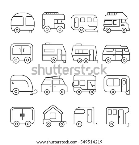 camping car and recreational vehicle icons outline on white background