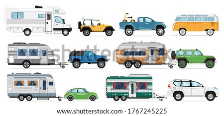 Camping caravan set. Travel car icons. Isolated RV camper, caravan, motorhome, van, camping trailer, automobile vector collection. Tourism transport recreational vehicle, mobile home, transportation