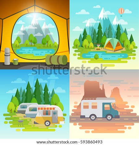 Camping concept, tent, caravan, house on weels.