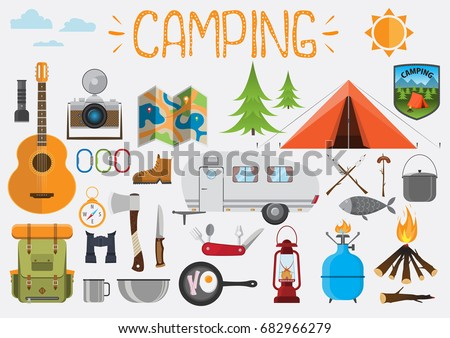 Camping elements. Set of camping objects, tent, trailer, backpack, guitar, camera, fire, bowl, guitar, gas balloon, map, compass, binoculars, axe. Design elements vector illustration flat.