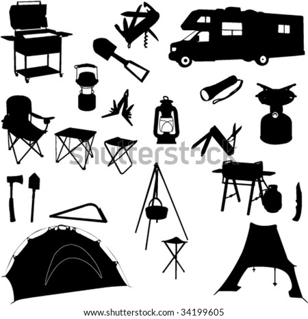 camping equipment silhouettes - vector