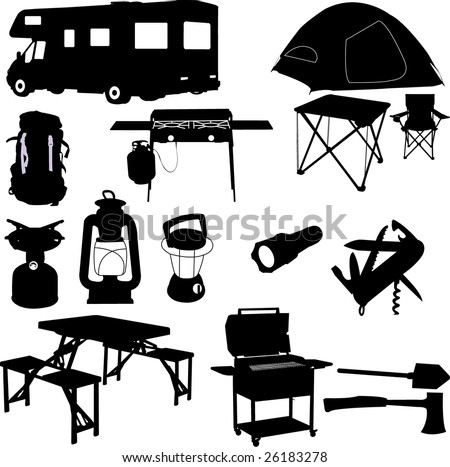 camping equipment - vector