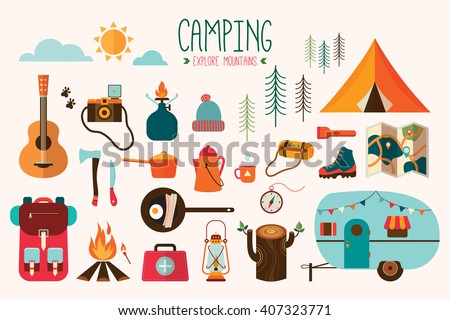 Camping equipment vector collection