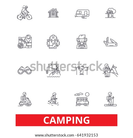 Camping, family travel, activity, hiking, camper, adventure, tourism, vacation line icons. Editable strokes. Flat design vector illustration symbol concept. Linear signs isolated on white background