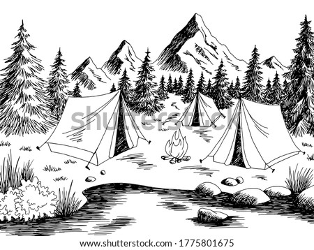 camping graphic black white