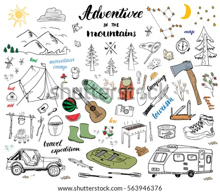 Camping Hiking Hand Drawn Sketch Doodle Set Vector Illustration With Mountains Tent Raft