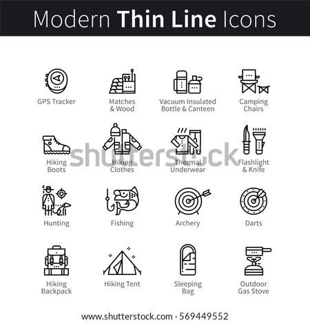 Camping & hiking, hunting, fishing and archery supplies set. Thin black line art icons. Linear style illustrations isolated on white.