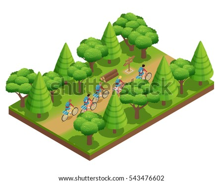 Camping hiking isometric composition tourists go on forest trail in park on bicycles vector illustration