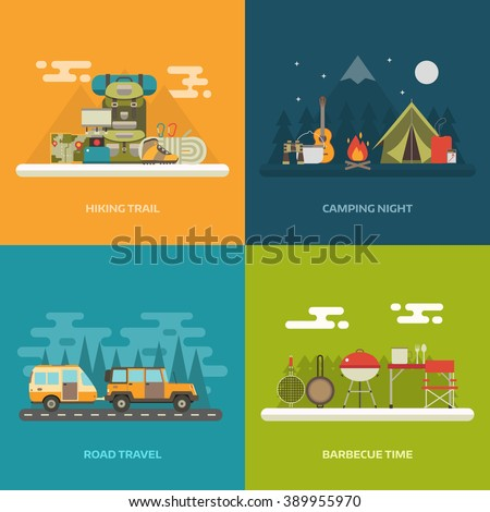 Camping, hiking, road travel and picnic concept background with place for text. Campground with tourist camp, RV camper,  trekking  and  barbecue banner templates. Summer travel and outdoor activity.