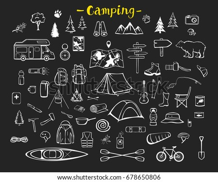 Camping, hiking, trekking adventure essential tools equipment items doodle silhouette set