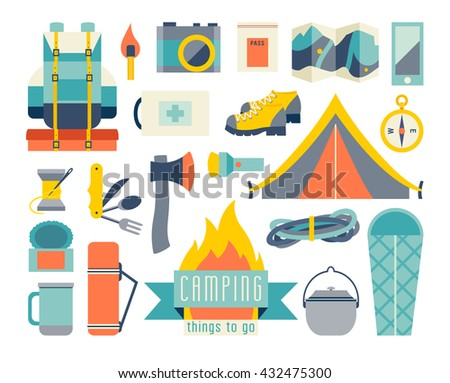 Camping Icon Set Adventure Hiking Kit And EquipmentTent Camp Backpack