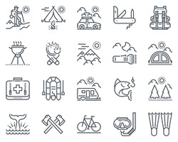 Camping icon set suitable for info graphics, websites and print media and  interfaces. Line vector icon set.