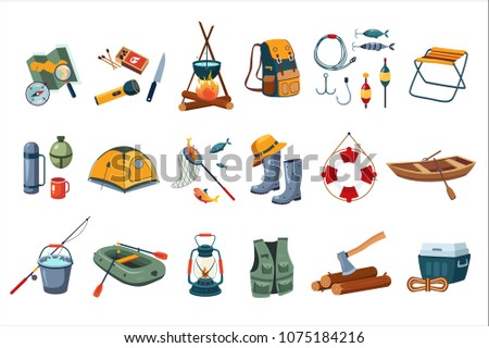 Camping icon set. Tourist equipment, items for fishing. Outdoor activity. Summer recreation. Flat vector design - Shutterstock ID 1075184216