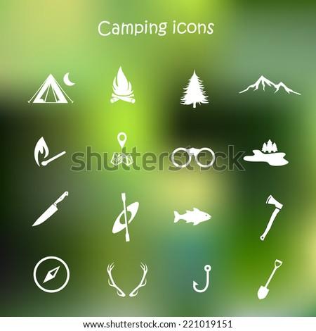 camping icon set vector