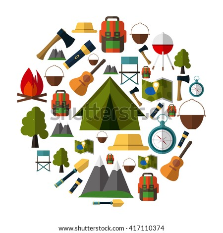 camping icons collection set