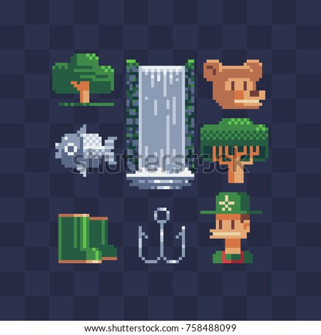 Camping icons. Green tree, waterfall, rubber boots, bear, hook, fish and traveler. Isolated vector illustration. Pixel art style. 8-bit sprite. Old school computer graphic style. Flat pixel art set.