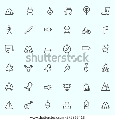 camping icons  simple and thin...