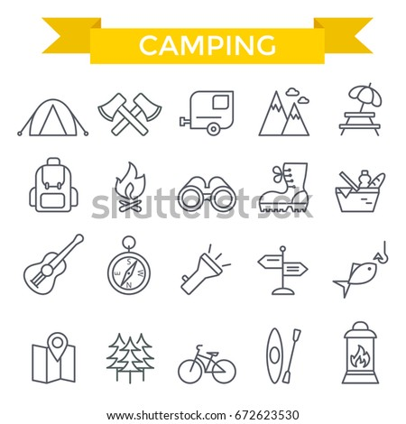 Camping icons, thin line design