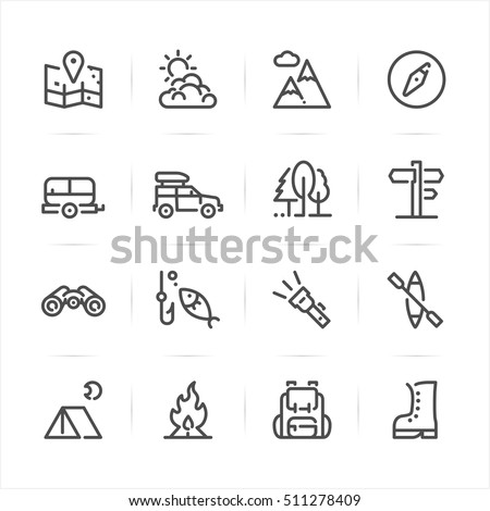 camping icons with white