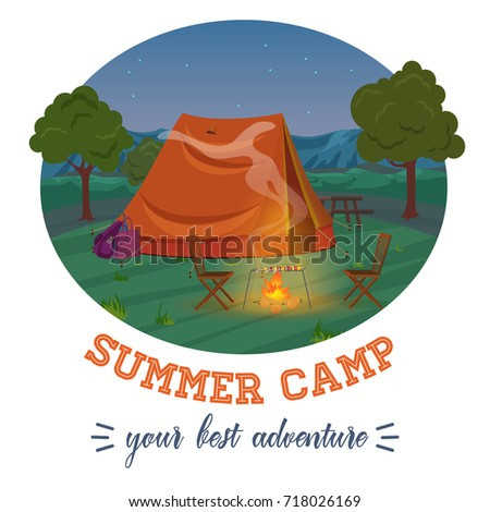 Camping illustration of summer forest in mountains, tent, fireplace with text in night. Vector illustration.