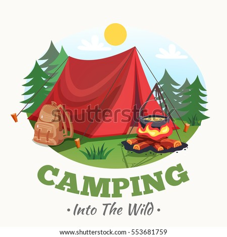 Camping illustration with summer forest cartoon style round composition with tent campfire backpack images and text vector illustration