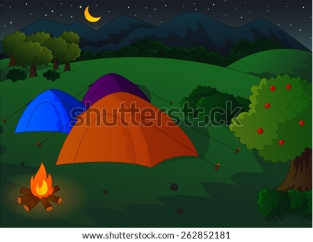 camping in the meadow at night