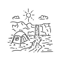 Camping in waterfall monoline design illustration