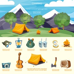 Camping infographic elements tourist tent in mountains outdoor recreation adventures vector illustration