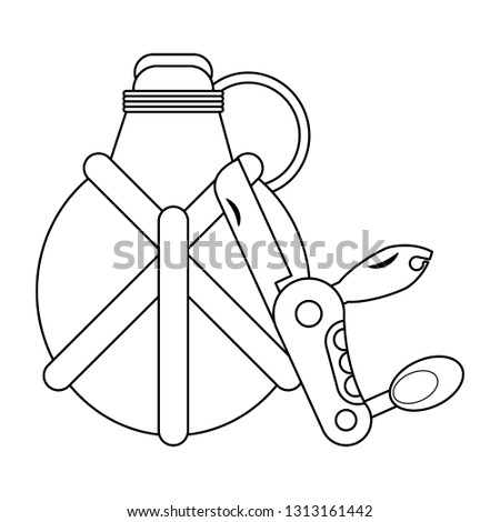 Camping lifestyle equipment black and white Foto stock ©
