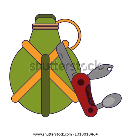 Camping lifestyle equipment blue lines Foto stock ©