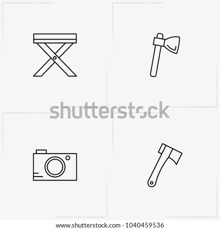 Camping line icon set with photo camera, hatchet and camping table