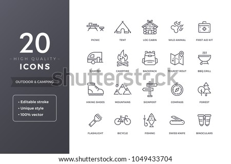Camping line icons. Hiking and outdoor icon set with editable stroke