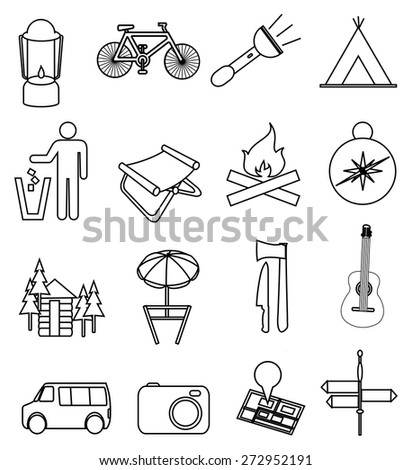 Camping line icons set
