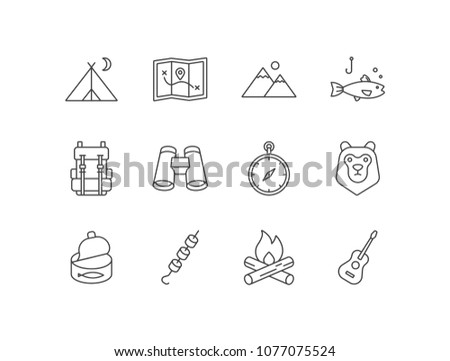 camping line icons set with