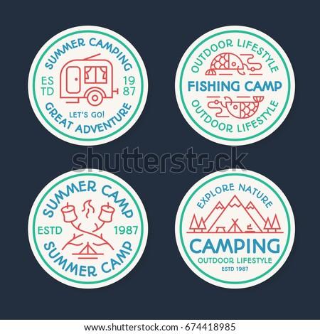camping logo set color line...