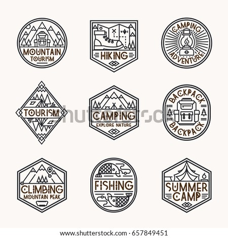 Camping logo set line style consisting of mountains, backpack, tent, fish, camp and trees for tourist symbol, travel badge, expedition label, explore emblem, hiking sticker, climbing, poster, banner