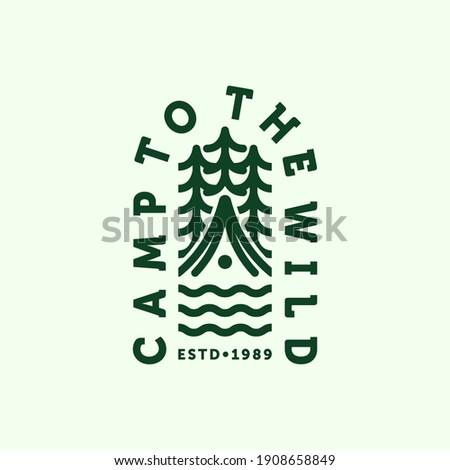 Camping Logo Vector Illustration Design. Outdoor Camp or Summer Camp Illustration Logo Design. Simple Modern Creative Camp Logo Design. Camp to the Wild Logo Concept Inspiration